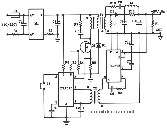5v 10a 50w Offline Switching Power Supply Circuit Schematic