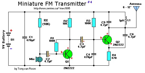 2 transistor mini fm transmitter circuit schematic rh circuitscheme com Simple FM Transmitter Schematic Simple FM Transmitter Schematic