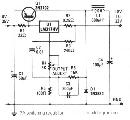 nicad charger circuit diagram 3a switching voltage regulator based lm317hv    circuit    scheme  3a switching voltage regulator based lm317hv    circuit    scheme