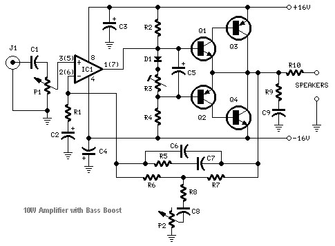 10W audio amplifier circuit
