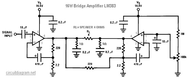 16W Bridge Amplifier LM383