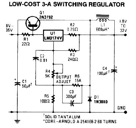 3A Switching Power Supply Regulator - Circuit Scheme