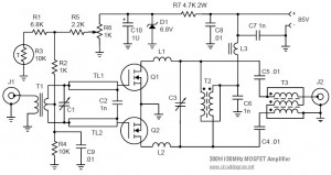 50MHz 300W MOSFET Linear Amplifier Diagram