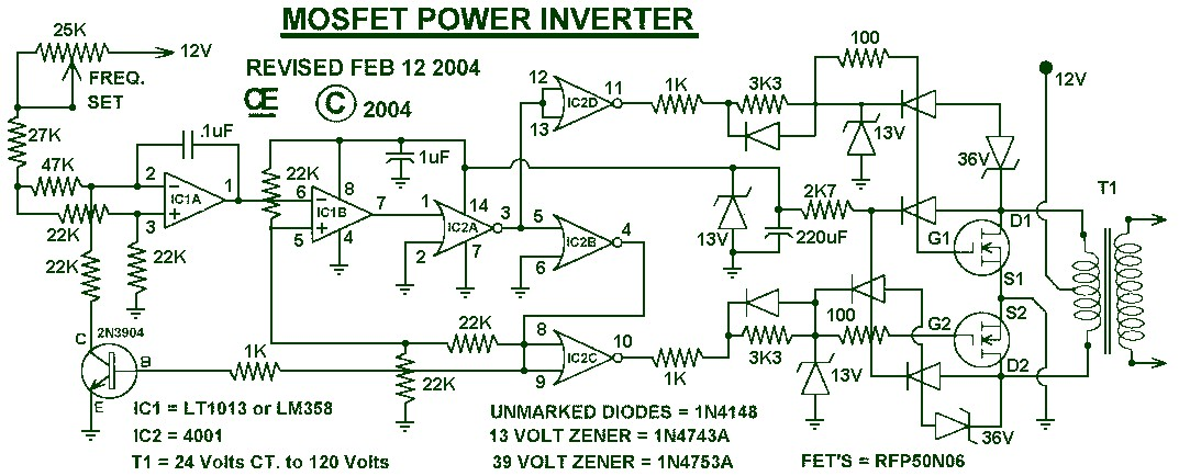 1000W Power Inverter Circuit Schematic