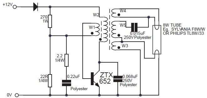 8w fluorescent lamp inverter based ztx652 circuit schematic DC to DC Inverter Circuit DC to AC Schematic
