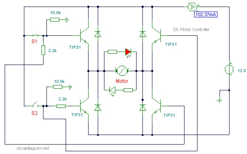 Dc Motor Controller Using Transistor Tip31 Circuit Schematic