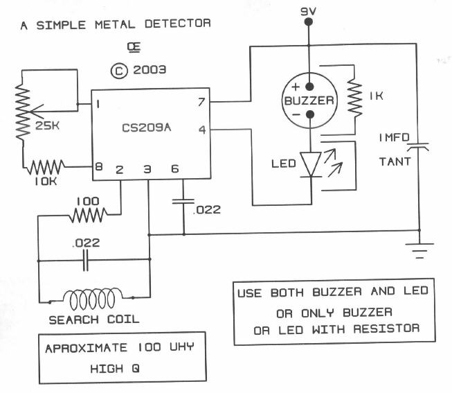 Simple Metal Detector Circuit Diagram