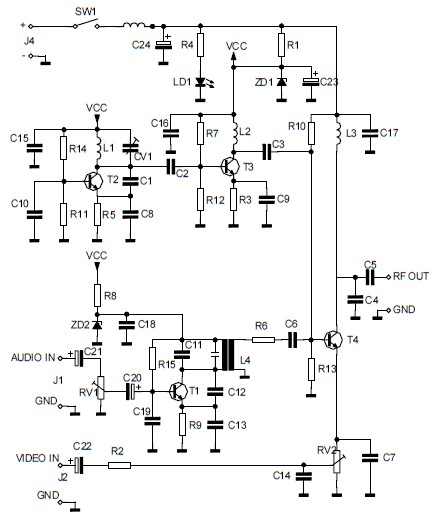 audio video to uhf tv signal converter (modulator) circuit schematicAudio Video To Uhf Tv Signal Converter Modulator Circuit Diagram #1