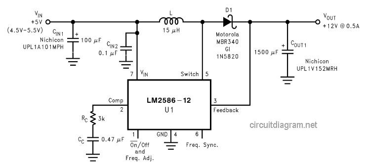 DC to DC Converter +5V to +12V - Circuit Scheme