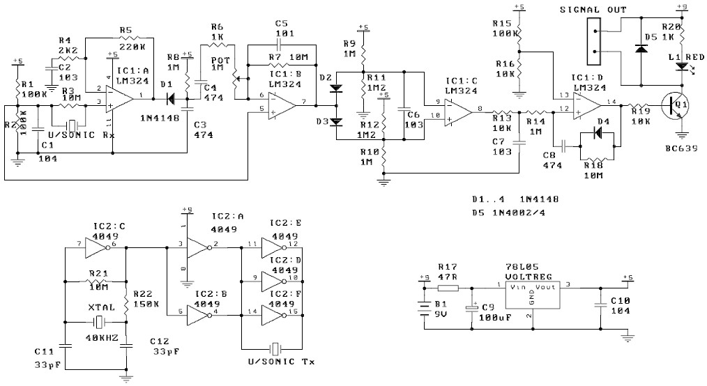 Ultrasonic Motion Detector Circuit Schematic