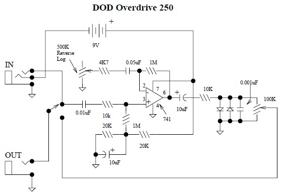 guitar amplifier wiring diagram dod overdrive preamp 250 circuit scheme  dod overdrive preamp 250 circuit scheme