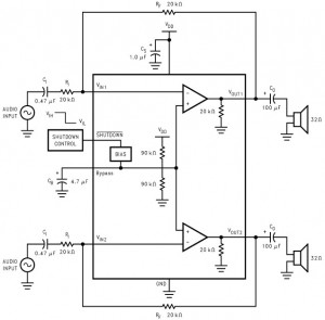 LM4809 105mW Stereo Headphone Amplifier - Circuit Schematic