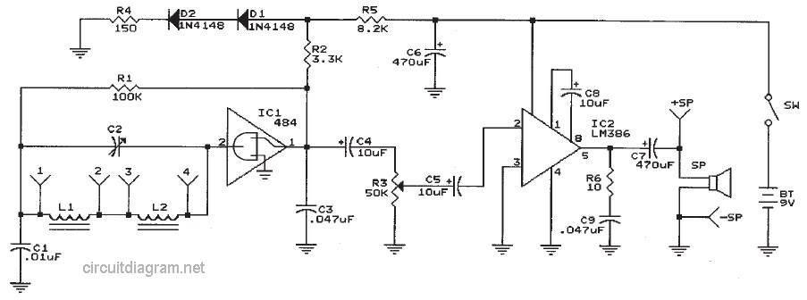 Two Chips Am Radio Receiver Circuit Schematic