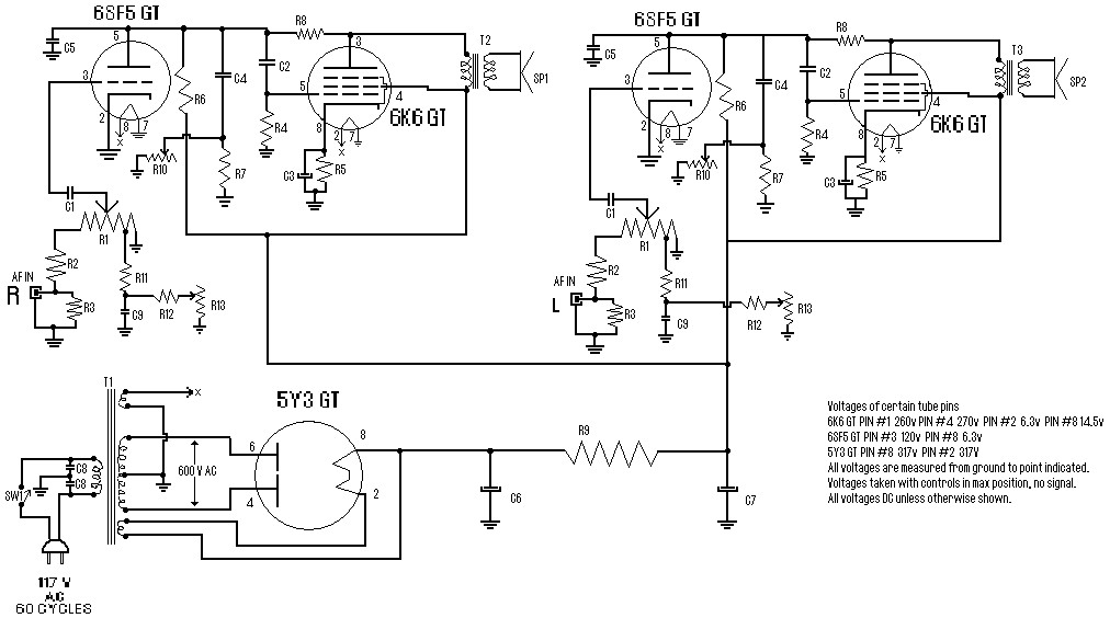 Stereo Tube Amplifier 4 Watts Circuit Schematic