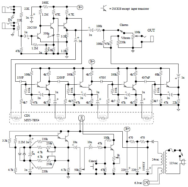 Univibe pedal circuit diagram