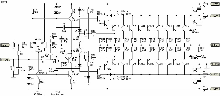 1500w power amplifier circuit electronic