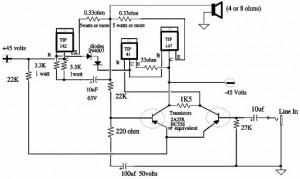150W Power Amplifier Circuit Diagram