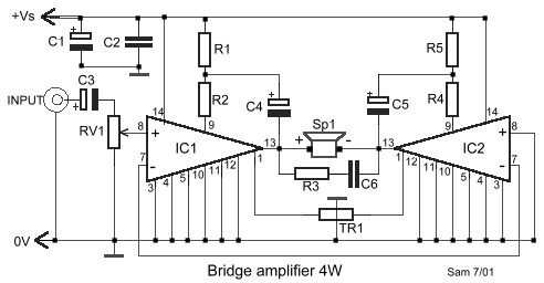 4W    Bridge       Amplifier    using LM388  Circuit Schematic