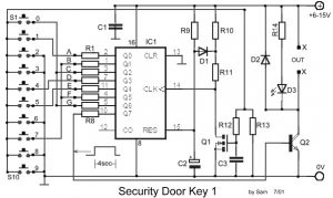 Digital Electronic Door Lock Security Key Circuit