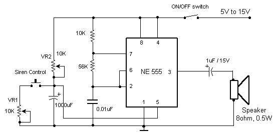 Electronic Siren Based Ne555 Circuit Schematic