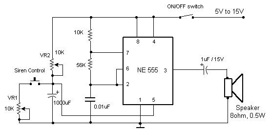 Electronic Siren CIrcuit based Timer NE555