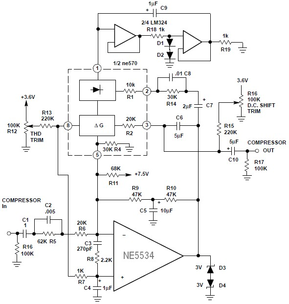 hi fi compressor with pre emphasis circuit schematic. Black Bedroom Furniture Sets. Home Design Ideas