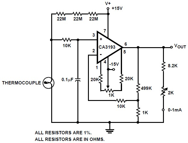 Thermocouple Amplifier Circuit Based Ca3193 Circuit Schematic