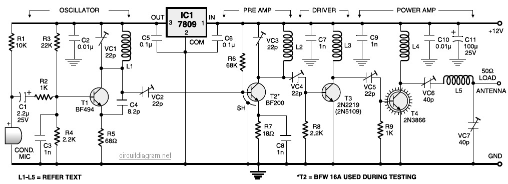 Stage Fm Transmitter Circuit Diagram on Rf Circuit Diagrams