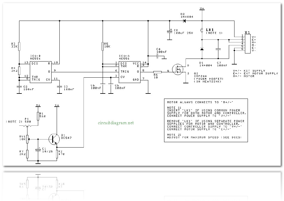 Dc motor speed controller circuit schematic for Schematic diagram of dc motor