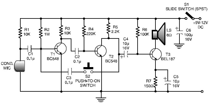 Low Cost And Simple Intercom Circuit Schematic