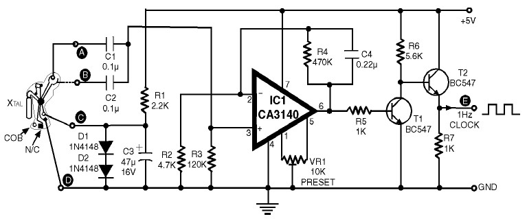 1Hz Clock Generator Circuit with Chip On Board (COB)