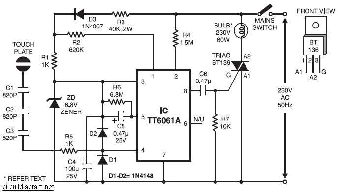 220V Lamp Touch Dimmer circuit Electronic - Circuit Schematic  V Led Dimmer Circuit Diagram on reverse phase dimmer circuit, dmx circuit, digital dimmer circuit, fluorescent dimmer circuit, led dimmer circuit,