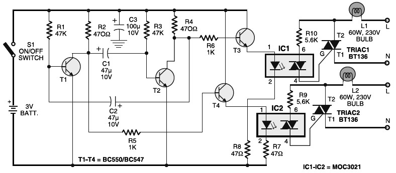 Portable 230V lamp flasher circuit diagram fun circuits category page 6 of 8 electronic circuit diagram alternating flasher wiring diagram at panicattacktreatment.co