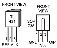 TL431 and TSOP1738 pin configuration