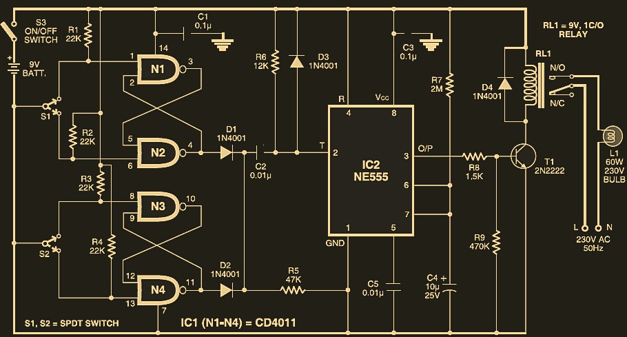 automatic switch off staircase light circuit schematic