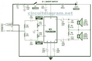 USB Powered, Multimedia Stereo Computer Speaker Circuit Diagram