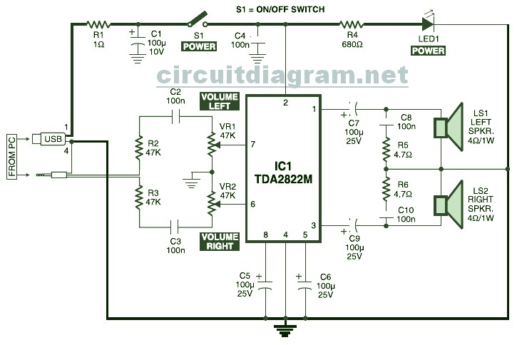 usb powered stereo computer speaker circuit schematic rh circuitscheme com Wiring 4 8 Ohm Speakers Series Speaker Wiring Diagram