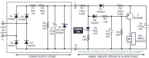 Power Supply Failure Alarm Circuit Diagram