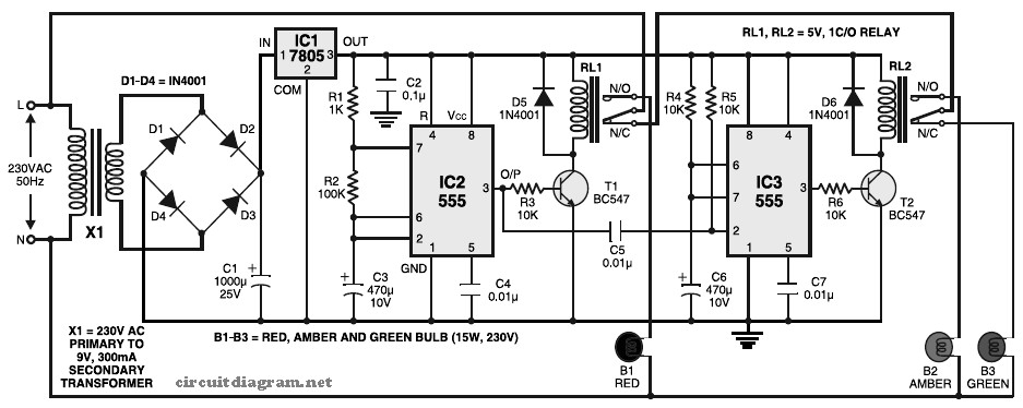 Simple Traffic Light Controller Circuit Schematic