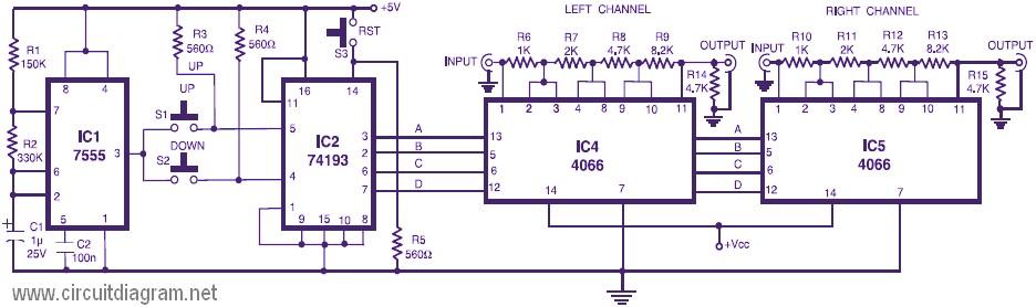 stereo digital volume control circuit scheme. Black Bedroom Furniture Sets. Home Design Ideas