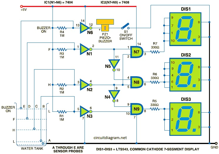 Water Level Indicator Using 7 Segment Led on solar battery charger circuit