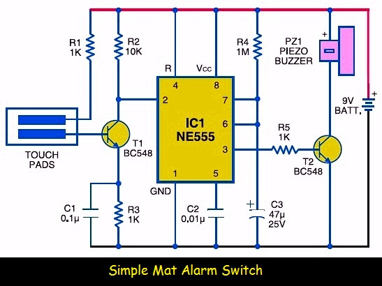 Simple Mat Alarm Switch Circuit Schematic