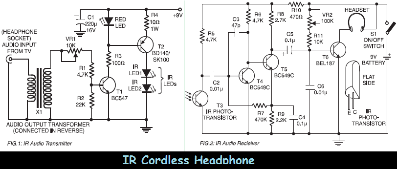 infrared ir cordless headphone circuit schematic. Black Bedroom Furniture Sets. Home Design Ideas