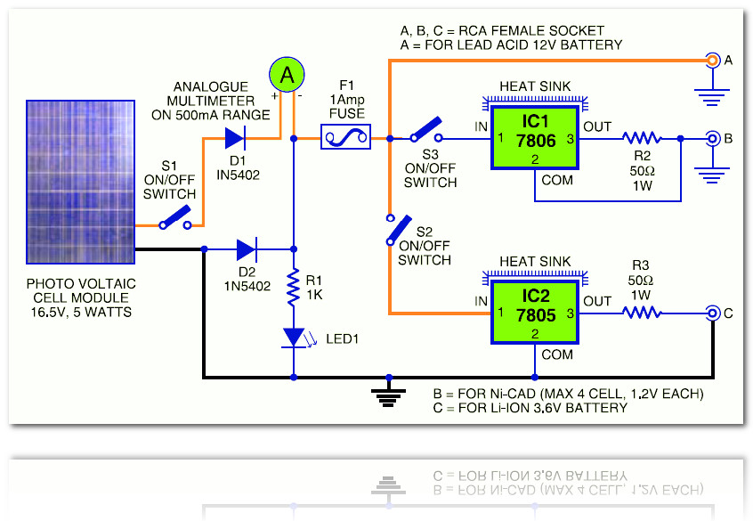 Wiring Diagram For Solar Battery Charger : Battery charger small led lamp based solar cell