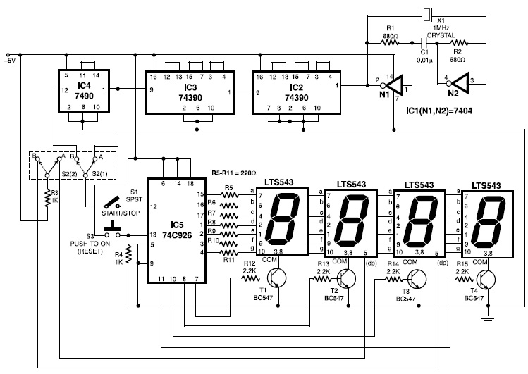 Electronic Stopwatch Circuit Schematic