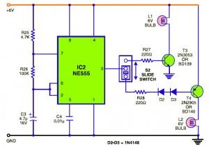 Traffic Baton circuit with Bulb Flasher