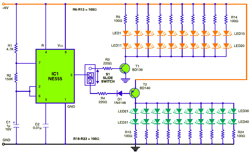 Traffic Baton With Bulb Or Led Flasher Circuit Schematic