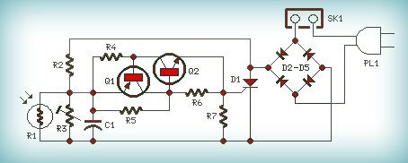 230v automatic night lamp  by circuit schematic