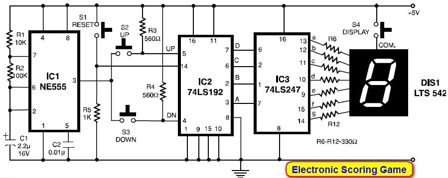 electronic scoring game circuit electronic circuit schematic rh circuitscheme com Simple Electronic Circuits Simple Electronic Circuits