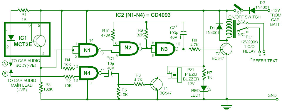 Theft Alarm For Vehicles Circuit Diagram Electronic Circuits Diagram